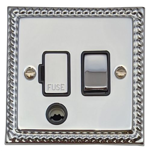 G&H MC356 Monarch Roped Polished Chrome 1 Gang Fused Spur 13A Switched & Flex Outlet
